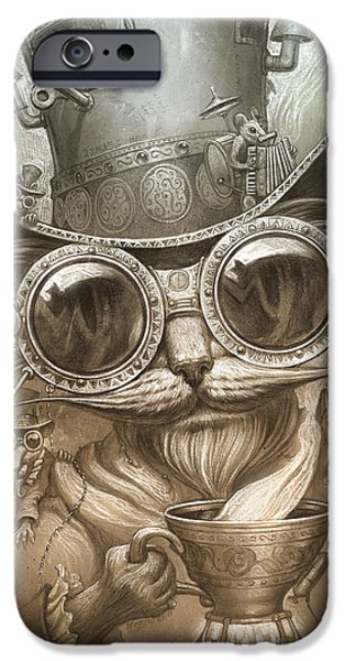 Cat Prints iPhone Cases - Steampunk Cat iPhone Case by Jeff Haynie