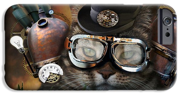 Close iPhone Cases - Steampunk Cat iPhone Case by Juli Scalzi