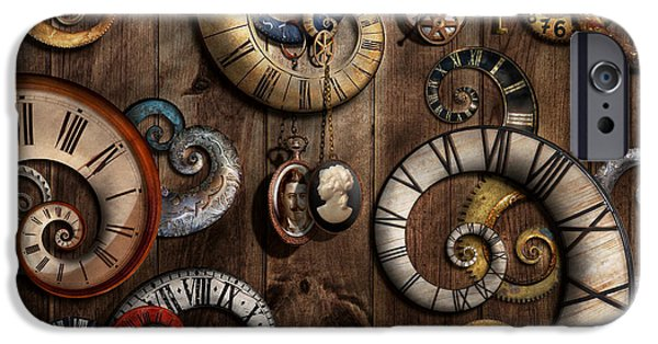Strange iPhone Cases - Steampunk - Clock - Time machine iPhone Case by Mike Savad