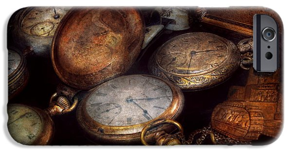 Watch Parts iPhone Cases - Steampunk - Clock - Time worn iPhone Case by Mike Savad