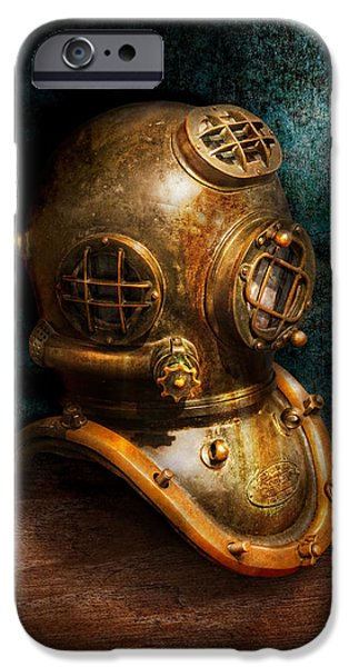 Suburbanscenes iPhone Cases - Steampunk - Diving - The diving helmet iPhone Case by Mike Savad