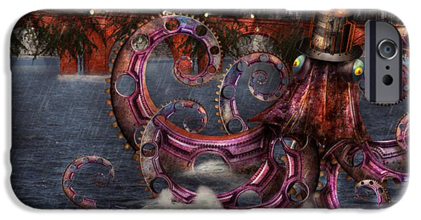 Suburban Digital Art iPhone Cases - Steampunk - Enteroctopus magnificus roboticus iPhone Case by Mike Savad