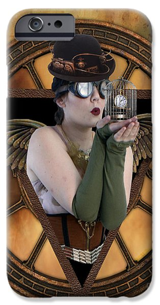 Bird Cage iPhone Cases - Steampunk Fairy iPhone Case by Juli Scalzi