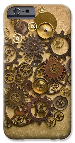 Gear iPhone Cases - Steampunk Gears iPhone Case by Diane Diederich