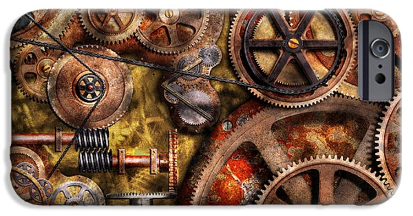 Abstract Digital Photographs iPhone Cases - Steampunk - Gears - Inner Workings iPhone Case by Mike Savad