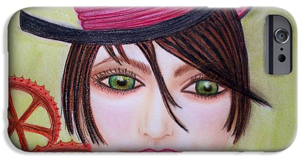 Gear Pastels iPhone Cases - Steampunk Girl iPhone Case by Absinthe Art By Michelle LeAnn Scott