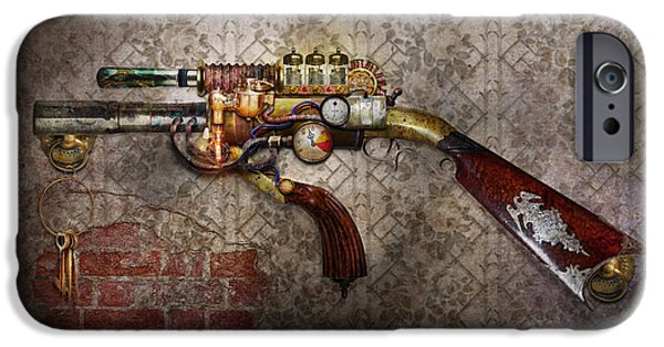 Police Art Photographs iPhone Cases - Steampunk - Gun - The sidearm iPhone Case by Mike Savad