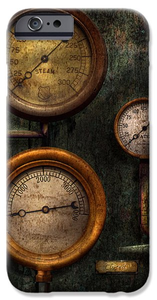 Steampunk - iPhone Cases - Steampunk - Plumbing - Gauging success iPhone Case by Mike Savad