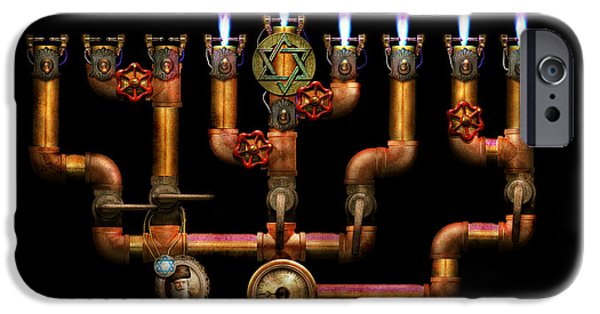 Chanukah iPhone Cases - Steampunk - Plumbing - Lighting the Menorah iPhone Case by Mike Savad