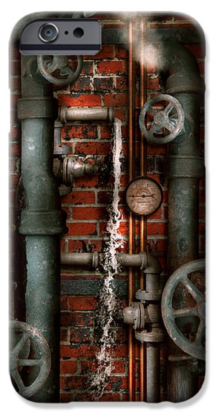 Suburban Digital Art iPhone Cases - Steampunk - Plumbing - Pipes and Valves iPhone Case by Mike Savad