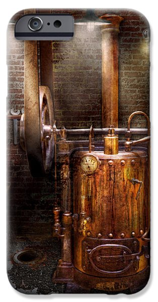 Pulley iPhone Cases - Steampunk - Powering the modern home iPhone Case by Mike Savad
