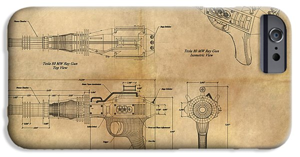 Machinery Paintings iPhone Cases - Steampunk Raygun iPhone Case by James Christopher Hill