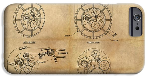 Mechanism Paintings iPhone Cases - Steampunk Solar Disk iPhone Case by James Christopher Hill