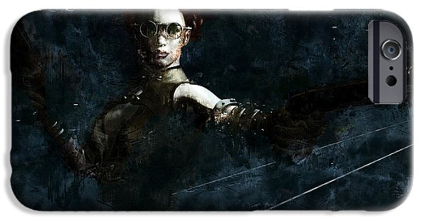 Abstract Digital Paintings iPhone Cases - Steampunk Stand-off iPhone Case by Maynard Ellis