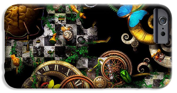 Suburban Digital Art iPhone Cases - Steampunk - Surreal - Mind games iPhone Case by Mike Savad