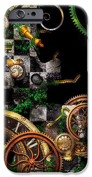 Steampunk - Surreal - Mind games iPhone Case by Mike Savad