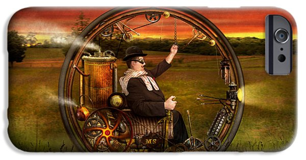 Suburban Digital Art iPhone Cases - Steampunk - The gentlemans monowheel iPhone Case by Mike Savad