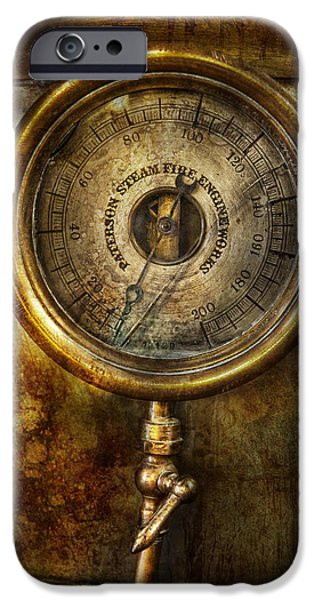 Mechanism iPhone Cases - Steampunk - The pressure gauge iPhone Case by Mike Savad