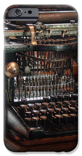 Steampunk - Typewriter - A really old typewriter  iPhone Case by Mike Savad