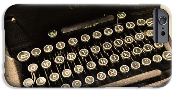 Typewriter Keys Photographs iPhone Cases - Steampunk - Typewriter - The Age of Industry iPhone Case by Paul Ward