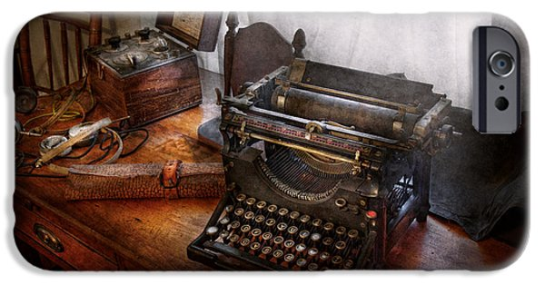 Electrical iPhone Cases - Steampunk - Typewriter - The secret messenger  iPhone Case by Mike Savad