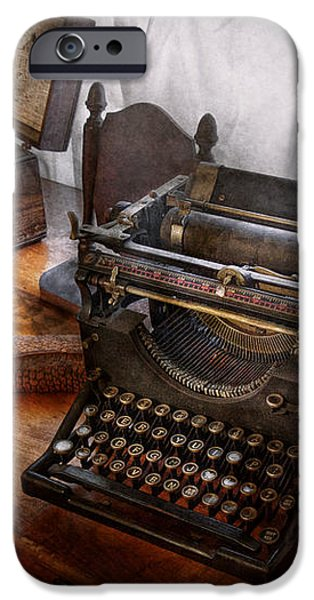 Steampunk - Typewriter - The secret messenger  iPhone Case by Mike Savad