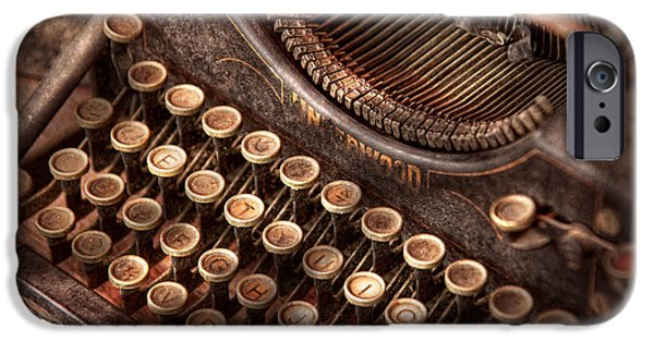 Typewriter Keys Photographs iPhone Cases - Steampunk - Typewriter - Too tuckered to type iPhone Case by Mike Savad