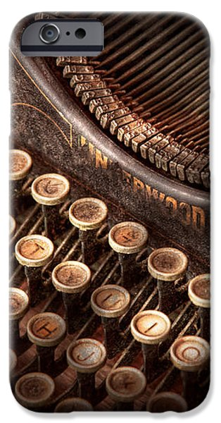 Steampunk - Typewriter - Too tuckered to type iPhone Case by Mike Savad