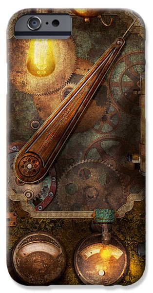Steam Punk iPhone Cases - Steampunk - Victorian fuse box iPhone Case by Mike Savad