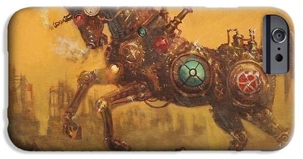 Ruin iPhone Cases - Steampunk War Horse iPhone Case by Tom Shropshire