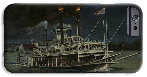 Steamboat iPhone Cases - Kate Adams Steamboat Night iPhone Case by Don  Langeneckert