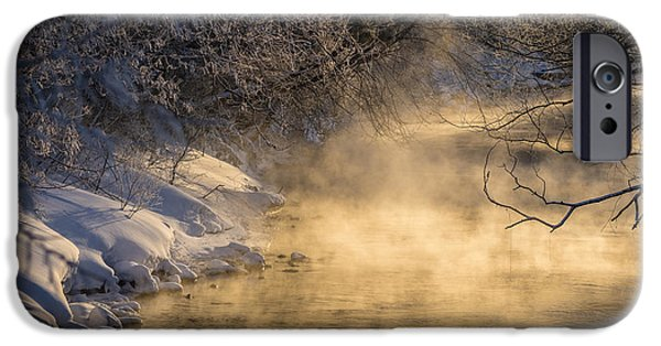 Morning iPhone Cases - Steamy River iPhone Case by Clint Douthitt