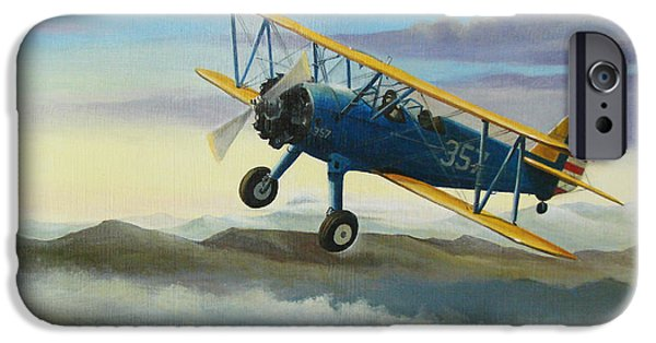 Flight Paintings iPhone Cases - Stearman Biplane iPhone Case by Stuart Swartz