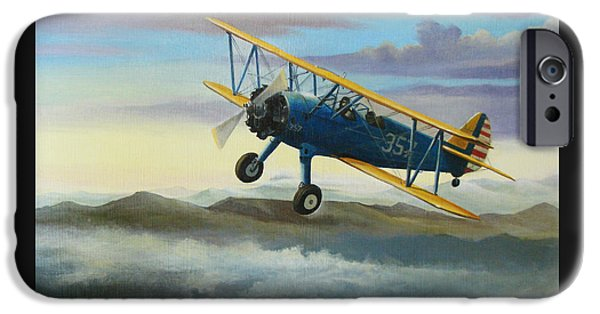 World Wars iPhone Cases - Stearman Biplane iPhone Case by Stuart Swartz