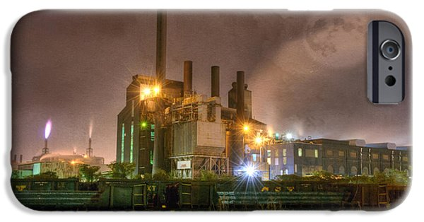 Mill iPhone Cases - Steel Mill at Night iPhone Case by Juli Scalzi