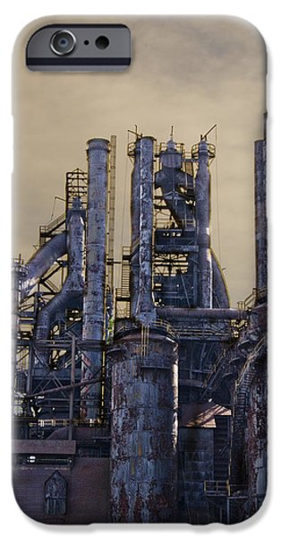 Bethlehem iPhone Cases - Steel Mill - Bethlehem Pa iPhone Case by Bill Cannon