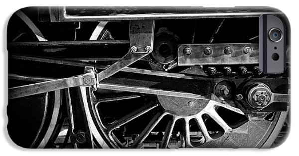 Steam Locomotive iPhone Cases - Steel Wheels - Steam Train Drivers iPhone Case by Edward Fielding