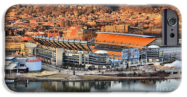 Heinz Field iPhone Cases - Steelers Stadium Reflections iPhone Case by Adam Jewell