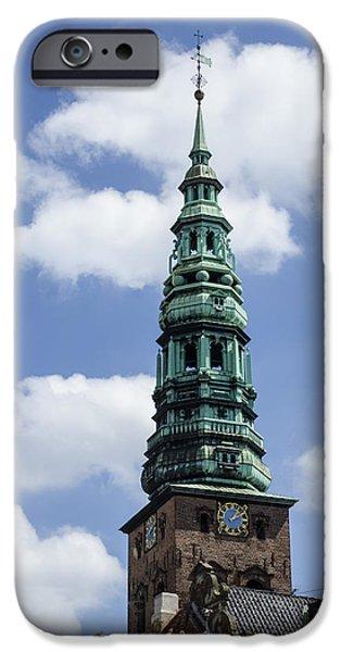 Wooden Ship iPhone Cases - Saint Nicholas Church Steeple  - Copenhagen Denmark iPhone Case by Jon Berghoff