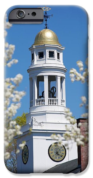 Concord Massachusetts iPhone Cases - Steeple with clock iPhone Case by Allan Morrison