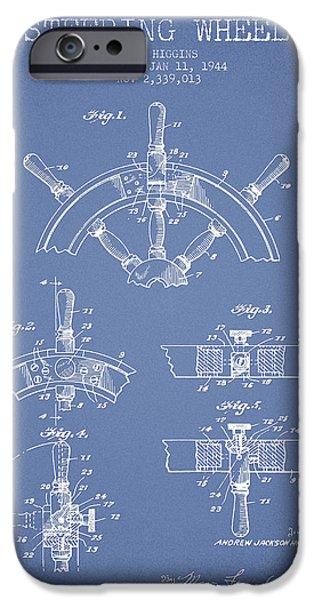 Navigation Digital iPhone Cases - Steering Wheel Patent Drawing from 1944  - Light Blue iPhone Case by Aged Pixel
