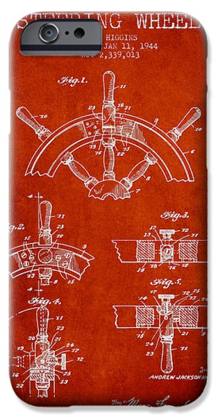 Navigation Digital iPhone Cases - Steering Wheel Patent Drawing from 1944  - Red iPhone Case by Aged Pixel