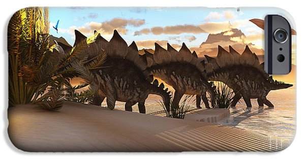 Triassic iPhone Cases - Stegosaurus Dinosaur iPhone Case by Corey Ford
