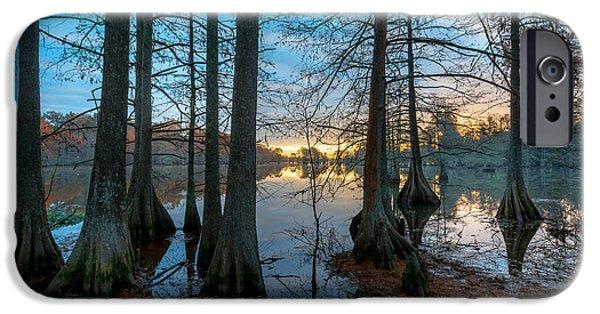Alga iPhone Cases - Steinhagen Reservoir Sunrise iPhone Case by David Morefield