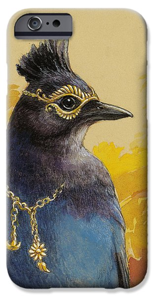 Corvid iPhone Cases - Stellers Jay Goes to the Ball iPhone Case by Tracie Thompson