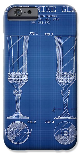 Wine Illustrations iPhone Cases - Stemmed Wine Glass Patent from 1988 - Blueprint iPhone Case by Aged Pixel