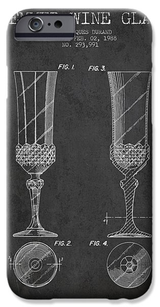 Wine Illustrations iPhone Cases - Stemmed Wine Glass Patent from 1988 - Charcoal iPhone Case by Aged Pixel