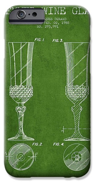 Wine Illustrations iPhone Cases - Stemmed Wine Glass Patent from 1988 - Green iPhone Case by Aged Pixel