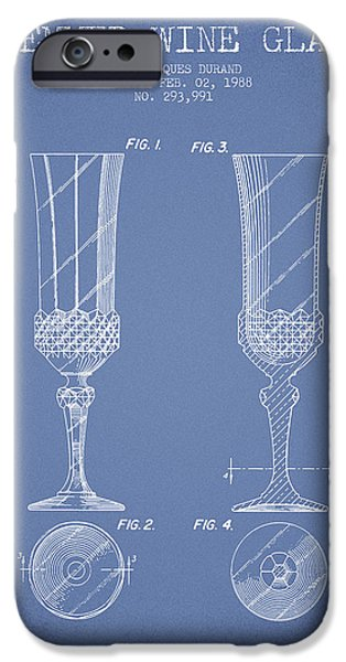 Wine Illustrations iPhone Cases - Stemmed Wine Glass Patent from 1988 - Light Blue iPhone Case by Aged Pixel
