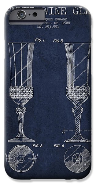 Wine Illustrations iPhone Cases - Stemmed Wine Glass Patent from 1988 - Navy Blue iPhone Case by Aged Pixel